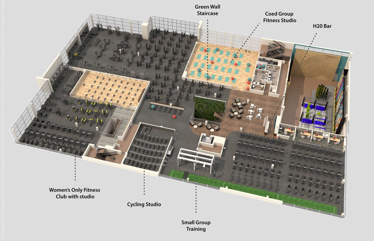 Birdseye view of facility level 2